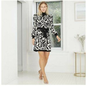 Black And White Leapord Sweater Dress With Black